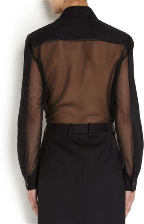 sheer black blouse givenchy sheer silk chiffon blouse in black lyst