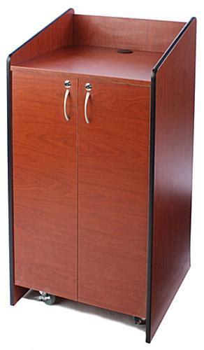 cherry floor standing podium  locking storage cabinet