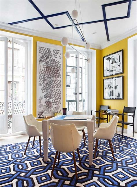 geometric form  blue  yellow interiors  color