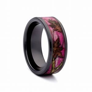 Pink camo wedding rings black ceramic band hunting for Wedding rings with pink