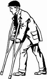 Crutches Clipart Person Clip Library sketch template