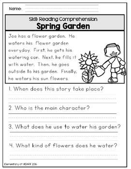 close reading comprehension printable worksheets spring