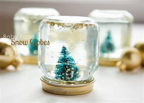 Baby Food Jar Snow Globes Tutorial Kitchen Cabinet Storage Ideas Containers Modern Canisters Large Red Garbage Cans French Country Pictures Art Lobster Kitchener