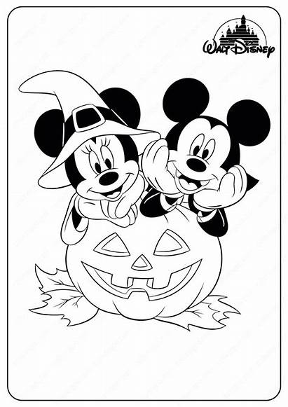 Coloring Halloween Mickey Minnie Mouse Disney Printable