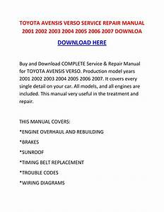 Toyota Avensis Verso Service Repair Manual 2001 2002 2003