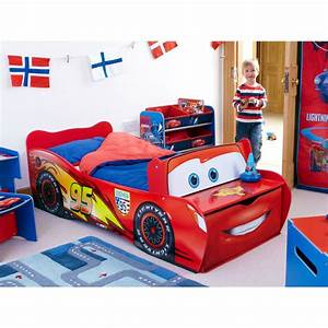 Disney cars toddler feature bed lightning mcqueen new ebay for Boy toddler bed
