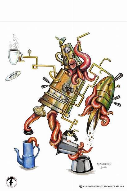 Cartoon Pop Surrealism Coffee Maker Lowbrow Cubism