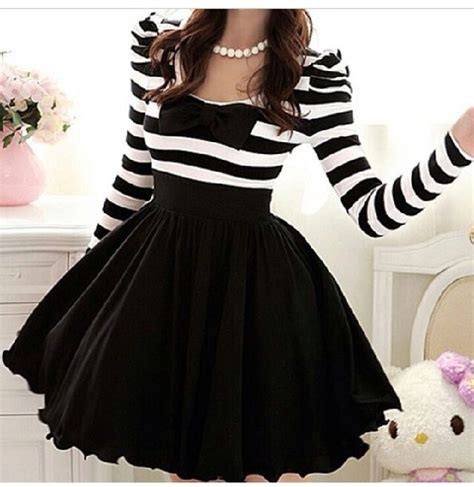 Dress stripes pretty. girly party black classy sweet skirt pretty ribbon black and ...