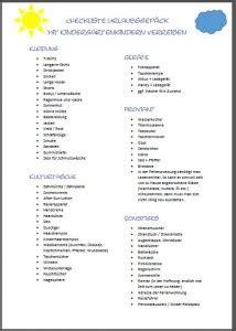 urlaubs checkliste kostenlos checkliste urlaub mit kleinkind zum kostenlosen