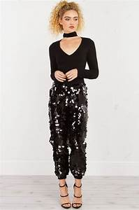 An Fitting Size Chart Large Round Sequin Jogger Pants In Black And Off White