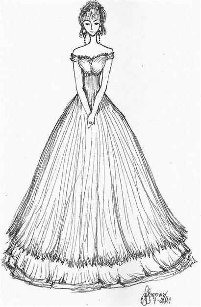 Prom Elegant Deviantart Sketches Dresses Drawings Sketch