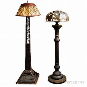 persian pierced brass floor lamp and a wicker floor lamp With pierced metal floor lamp