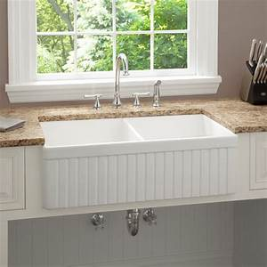 33 inch baldwin double bowl fireclay farmhouse kitchen With 33 inch farmhouse apron sinks