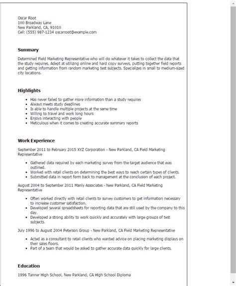 Field Representative Resume by Professional Field Marketing Representative Templates To Showcase Your Talent Myperfectresume