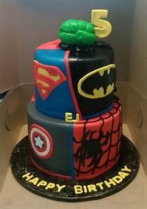 Dc And Marvel Superhero Themed 2 Tier Birthday Cake