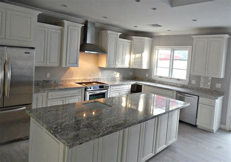 Kitchen Remodel Ideas White Cabinets by White Granite Countertop Remodel With Flat Edge
