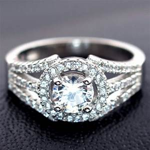 3 carats real 925 sterling silver classic luxury simulated With sterling silver wedding rings with real diamonds