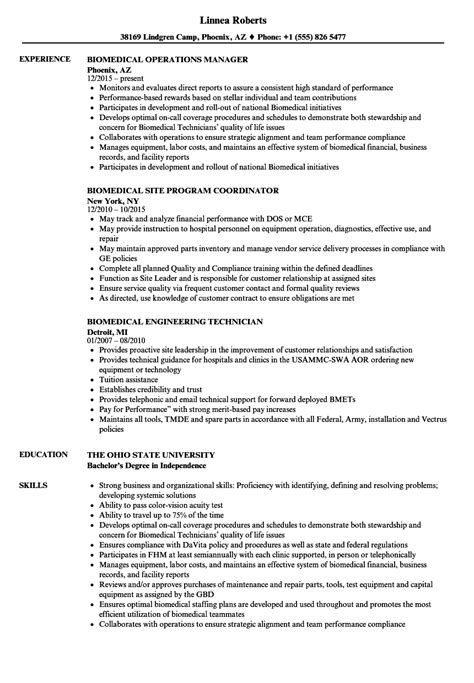 biomedical engineer resume  finder jobs