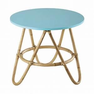Table Basse Scandinave Bleu : table basse ronde en rotin bleu d 46 cm aloha maisons du monde ~ Teatrodelosmanantiales.com Idées de Décoration