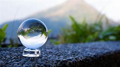 4k Glass Reflection Globe Ball Wallpapers Backgrounds