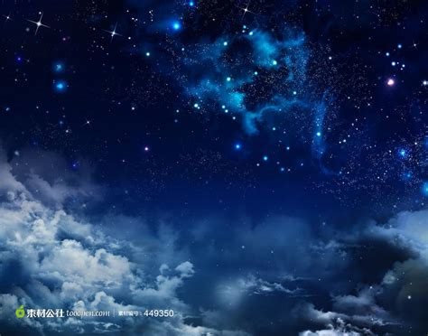 Starry Night Sky Wallpaper 白云与繁星点点的夜空树叶高清壁纸 素材公社 Tooopen Com