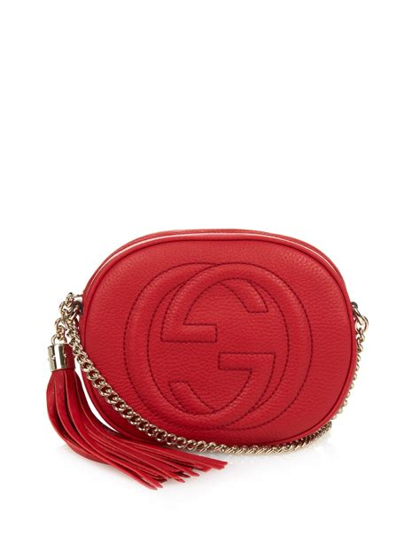 lyst gucci mini soho chain strap cross body bag  red
