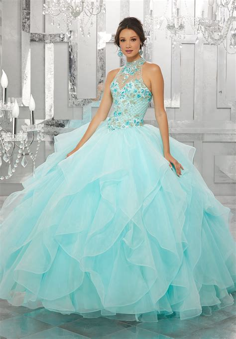 beaded multicolored embroidery   flounced tulle