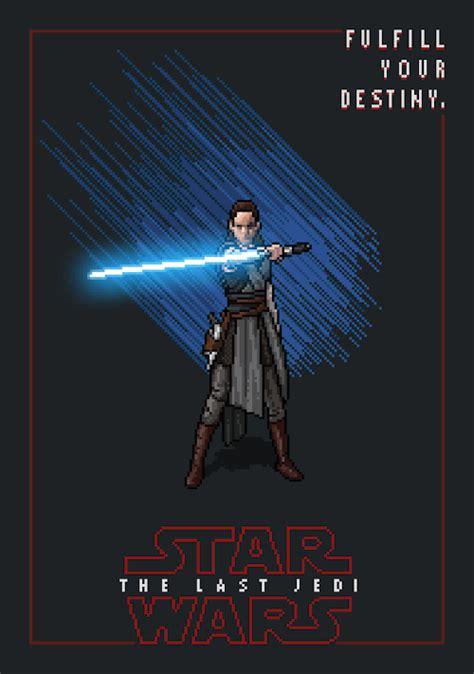 "Star wars movie poster stock photos and images. Rey - ""Fulfill Your Destiny"" Gif by Mikołaj Birek | Rey star wars, Star wars villains, Pixel art"