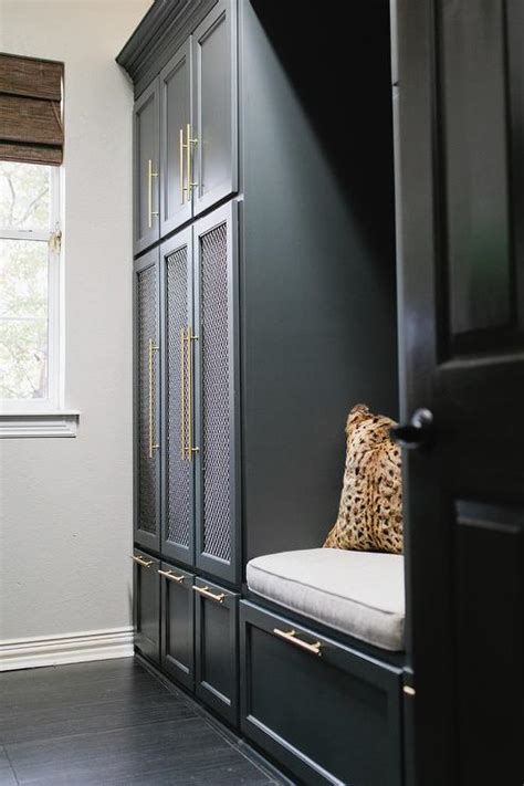 metal mesh doors  mudroom lockers transitional
