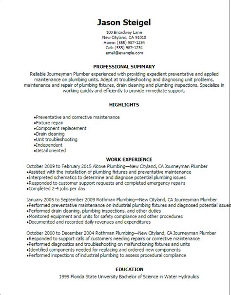 Plumbers Resume Format by Professional Journeymen Plumber Resume Templates To