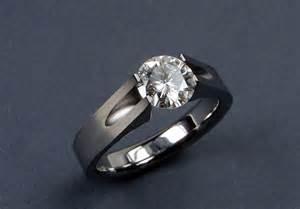 tension setting engagement ring moissanite engagement ring titanium tension set groove design with