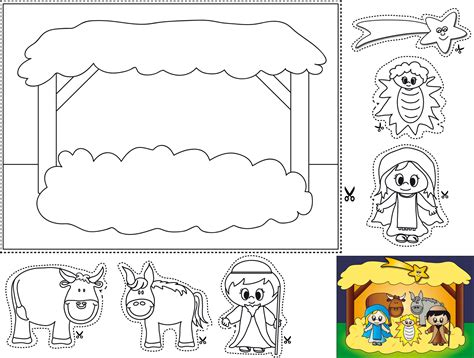 cut  paste manger coloring page  cute idea