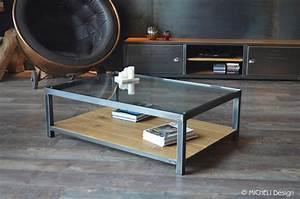 Table Basse Bois Industriel : table basse en bois et metal industrielle style industriel micheli design ~ Teatrodelosmanantiales.com Idées de Décoration