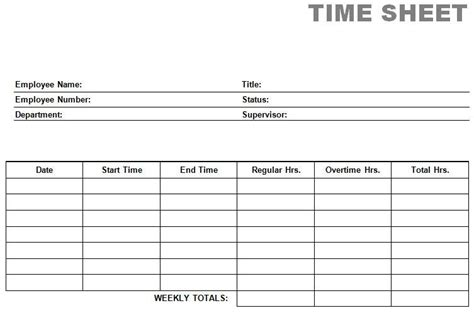 Time Card Template Free Time Card Template Printable Blank Pdf Time Card