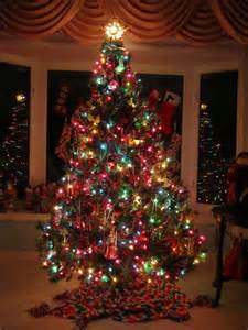 decoration ideas traditional christmas tree with colorful lights and hanging decorations also