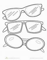 Sunglasses Coloring Template Glasses Worksheets Pages Printable Kindergarten Outline Education Worksheet Summer Clipart Colors Sunglass Sheets Clip Drawing Colorful Crafts sketch template
