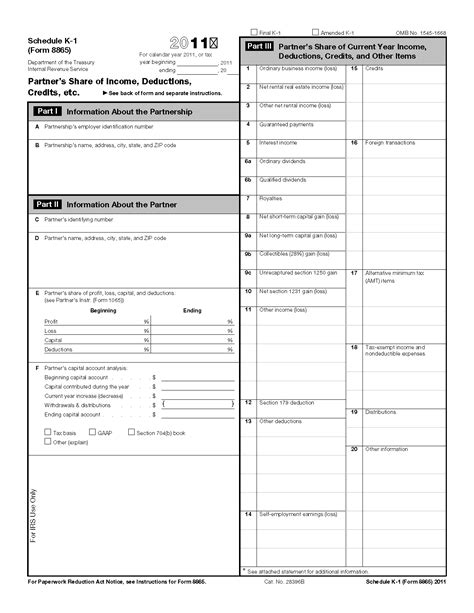 Form 8865 Schedule K 1 Partner S Of Income