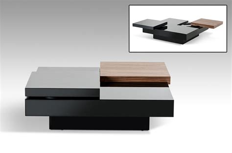Ambry Modern Walnut and Black Coffee Table   Coffee Tables   Living Room