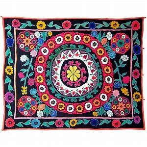 Tissus Decoration Murale : tissu d coration murale suzani en soie et coton 180x150 cm ~ Nature-et-papiers.com Idées de Décoration