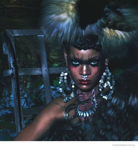 tribal fur editorials  magazine rihanna