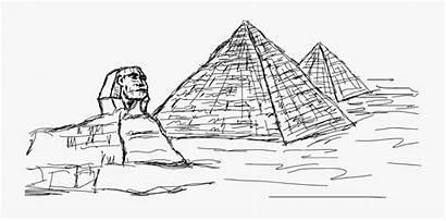 Pyramid Giza Sphinx Drawing Egyptian Pyramids Clipart