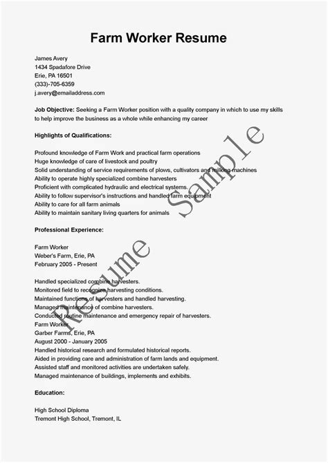 Farmer Resume Description by Resume Sles Farm Worker Resume Sle