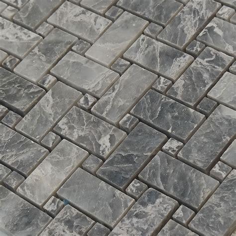 basketweave mosaic tile white grey marble polished