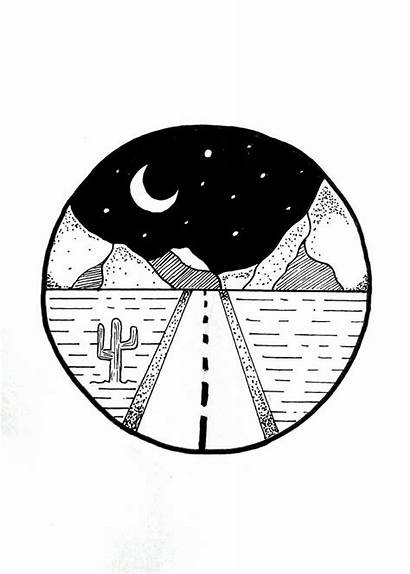 Mountain Simple Pen Drawings Easy Circle Doodle