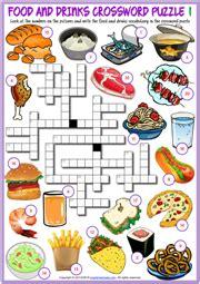food  drinks esl crossword puzzle worksheets