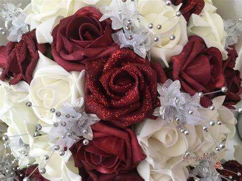 burgundy glitter rose  silver babies breath