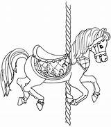 Horse Coloring Carousel Printable Horses Pages Christmas Poppins Mary Template Beccy Place Animals Drawings Colouring Templates Beccysplace Image4 Carousels Animal sketch template