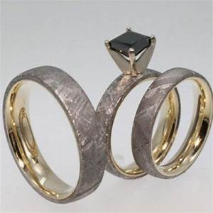Black Diamond Engagement Ring Set With Men39s Meteorite