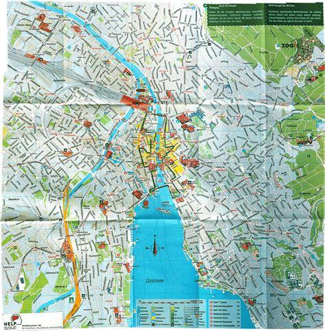 large detailed tourist map  zurich city zurich city