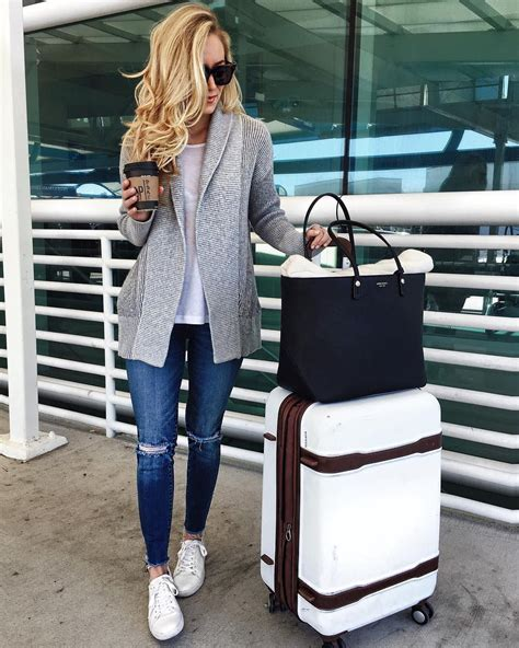 Comfy Travel Style Grey Cardigan With White Tee